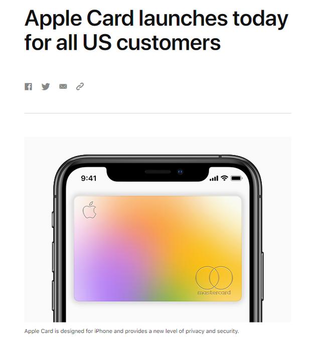 官宣:AppleCard已面向所有美国消费者推出