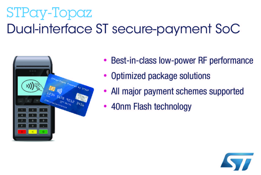 意法半导体推出下一代STPay支付芯片,可直接嵌入智能卡